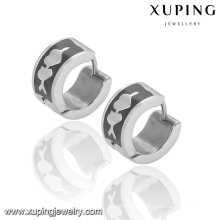 92333 Fashion Xuping Black -White Cool acero inoxidable pendiente de la joyería Huggie en promoción