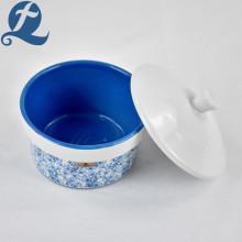 Vaso redondo de cerámica de gres con tapa