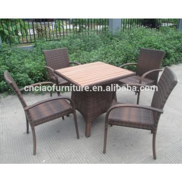 Отдых открытый ротанга обеденный стол и стул