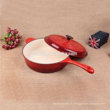 Hot casserole en fonte émaillée à longue poignée