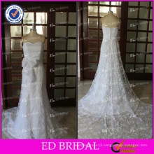 ED Bridal White Sleeveless Strapless Bow Belt Lace Appliqued Button And Zipper Back Wedding Dresses