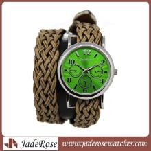 Moda mulher relógio de pulso tecer banda relógio (ra1161)