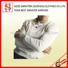 Hombres 100% algodón con cuello en V suéter