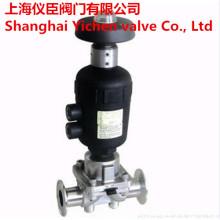 Vanne à membrane sanitaire pneumatique avec commande manuelle