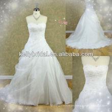 2014 HEISSER Verkauf BRITISCHES gesticktes Hochzeitskleid gebildet in orgenza
