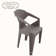Wholesale cheap creative Geometric fold design chair plastic gray chair with arm