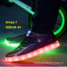 Nova moda homens moda LED sapatos leves sapatos de desporto (ff416-7)