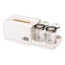 Caja de pañuelos de plástico con tarro de 4 divisores
