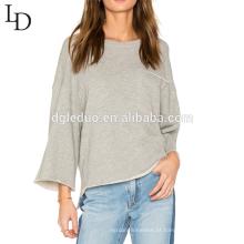 design personalizado moda o-pescoço solto e manga comprida camisa das mulheres