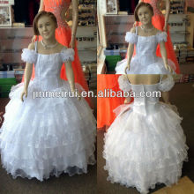 Real photo!Ball gown off shoulder organza floor length flower girl dresses JFD017