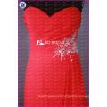ED Bridal Elegant Sweetheart A Line Chiffon Long Red Bridesmaid Dress With Beaded Sash