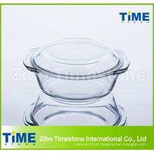 1L Caçarola de vidro de borosilicato alto com tampa