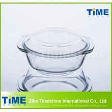 1L hoher Borosilikatglasauflauf mit Deckel
