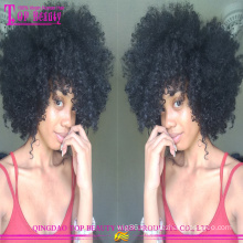 2015 Qingdao top quality 7a grade unprocessed twist human hair natural afro wigs for black men