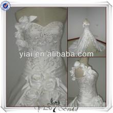 JJ2502 Eine Schulter Slivrer Stickerei, die Ballkleid-Hochzeits-Kleid 2014 verlängert