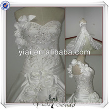 JJ2502 One Shoulder Slivrer Embroidery Enhancing Ball Gown Wedding Dress 2014