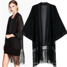 Moda Classic Black Kimono Casual Bat-Like Tassel Blusas (50017)