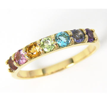 Color de piedra de plata anillo de la banda de plata de ley 925 joyas de plata