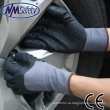 NMSAFETY 13/15 calibre al por mayor negro nitrilo punteado mano guantes nitrilo puntos en agarre de la palma guante
