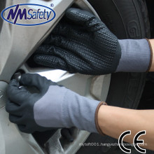 NMSAFETY 13/15 gauge wholesale black nitrile nitrile dotted hand gloves nitrile dots on palm grip glove