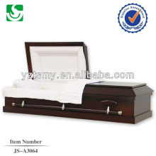 Exportación de tela de la guarnición del ataúd de madera de tapa plana americana cremación