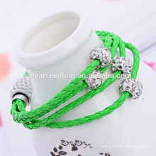 3 Layer shambala beads pu leather fitness bracelet