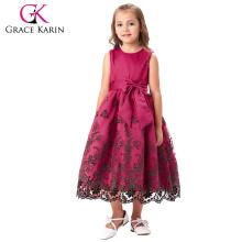 Grace Karin Sleeveless Crew Neck Deep Pink Flower Girl Princess Bridesmaid Wedding Pageant Party Dress 2~12 Years CL008985-1