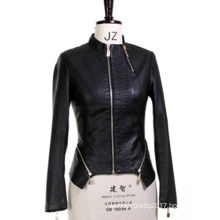 New Style Women Spring Autumn Solid Black Faux Soft Leather Jacket