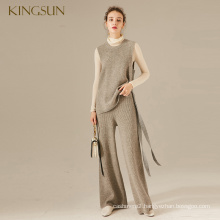 Merino Wool Woman Stylish Knitted Vest Pullover Sleeveless Round Neck Sweater