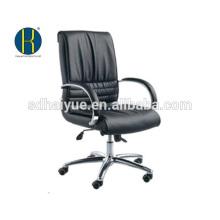 Cadeira de conferência de couro de vaca preta grosso com base de cromo