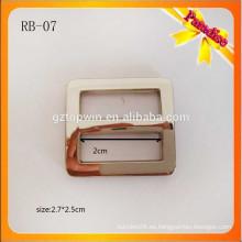 RB07 hebilla del deslizador del metal del rectángulo de la manera hebilla ajustable del blet de la aleación del cinc de plata para el bolso de la correa