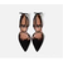 2016 Мода леди платье обуви Последние женщины лодыжки Wrap указал носком квартир