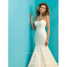 Sweetheart encaje sirena vestido nupcial vestido de boda de tren de barrido