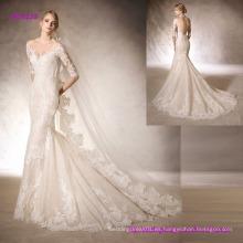 Vestido de novia sirena con escote corazón hecho de tul bordado