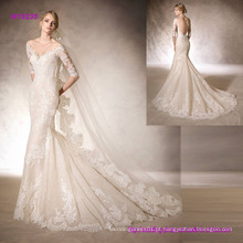 Vestido de noiva sereia com decote querido feito de tule bordado