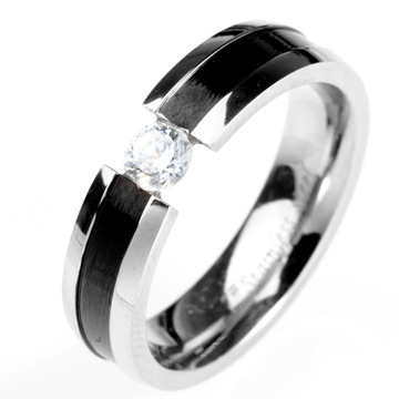 Stainless Steel Zircon Lover Romantic Engagement Couple Ring