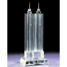 Fashion City Landmarks Forme de construction en verre de cristal pour le décor de salle de spectacle
