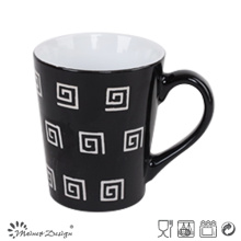 Precio barato de la taza de café de cerámica negra 12oz