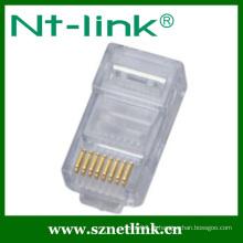 Para cabo contínuo utp rj45 plug modular