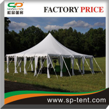 12x12m High Peak pole tent in galvanized steel frame and PVC fabric with white trappings