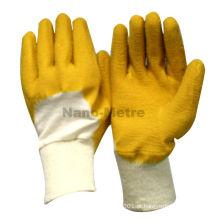 Luvas de mão de algodão revestido de látex de borracha amarela NMSAFETY
