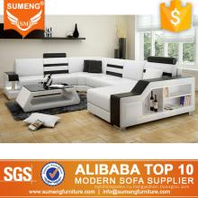 Итальянский кожаный диван-кровать с шкафом СИД свет LV8019