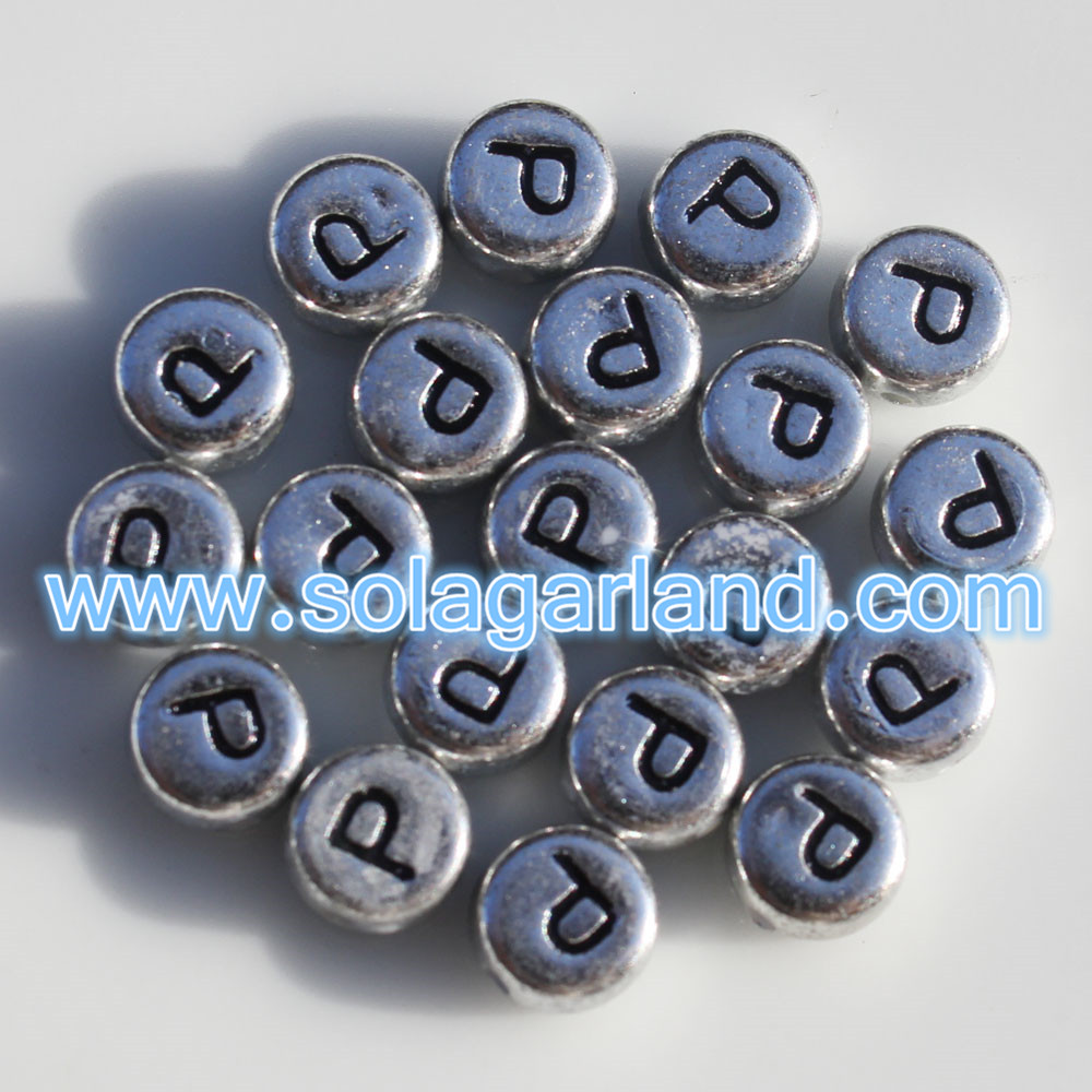 7MM Alphabet Letter Coin Beads
