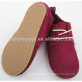 Red Kids toddler shoes hard sole baby leather shoes