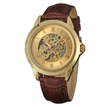 Gold Alloy Case Leather Japan Movement Watch
