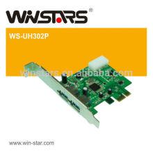 USB 3.0 PCI-E Express Card, 2 portas super velocidade usb 3.0 PCI-E Card, Driver CD com Manual