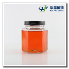 380ml Hexagon Glass Jar for Honey with Lug Lid