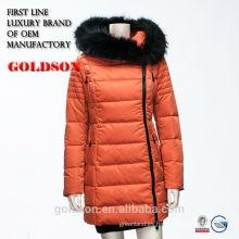 2017 Moda de las mujeres largas Warm Goose Down Jacket con Real Big Black Fox Fur