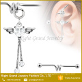 316L Surgical Steel Clear Heart CZ Angel Wing Dangle Industrial Barbell