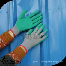 SRSAFETY дешевая цена / 13G Вязаный лайнер зеленые морщинки латексные перчатки / перчатки